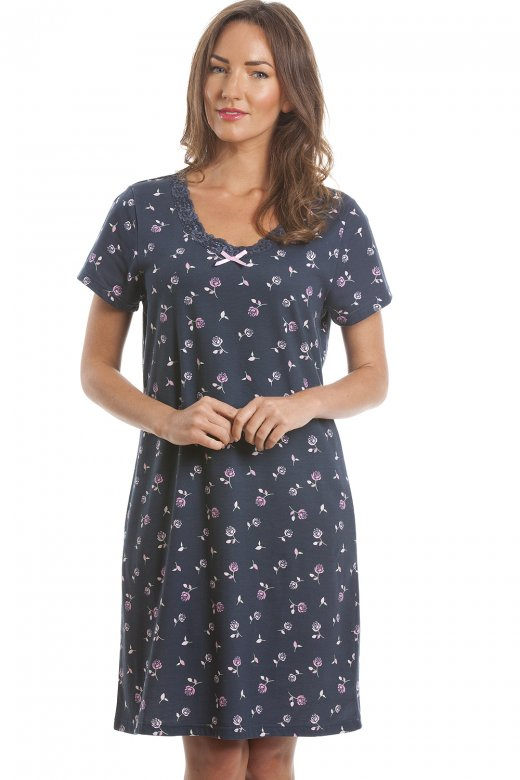 Rose Print Navy Blue Nightdress