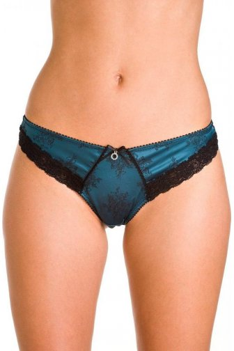 Satin Teal Rose Print Jacquard Thong