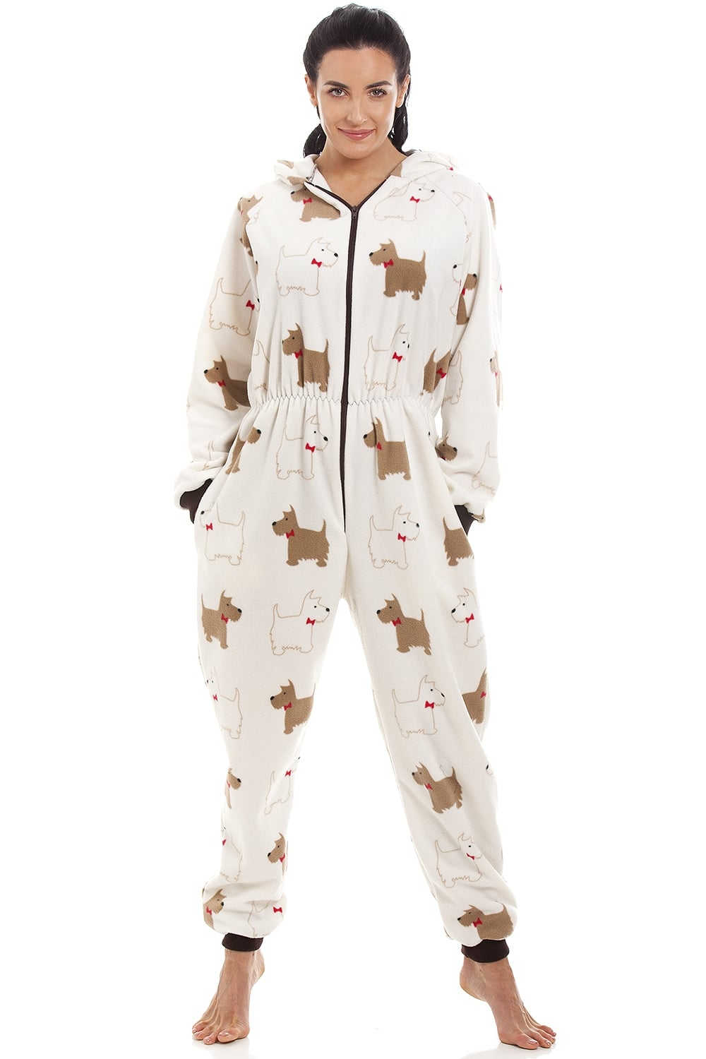 scotty dog print fleece hooded all in one onesie pyjama