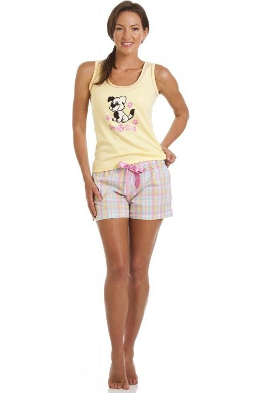 Camille Scruffy Dog Print Short Pyjama Set