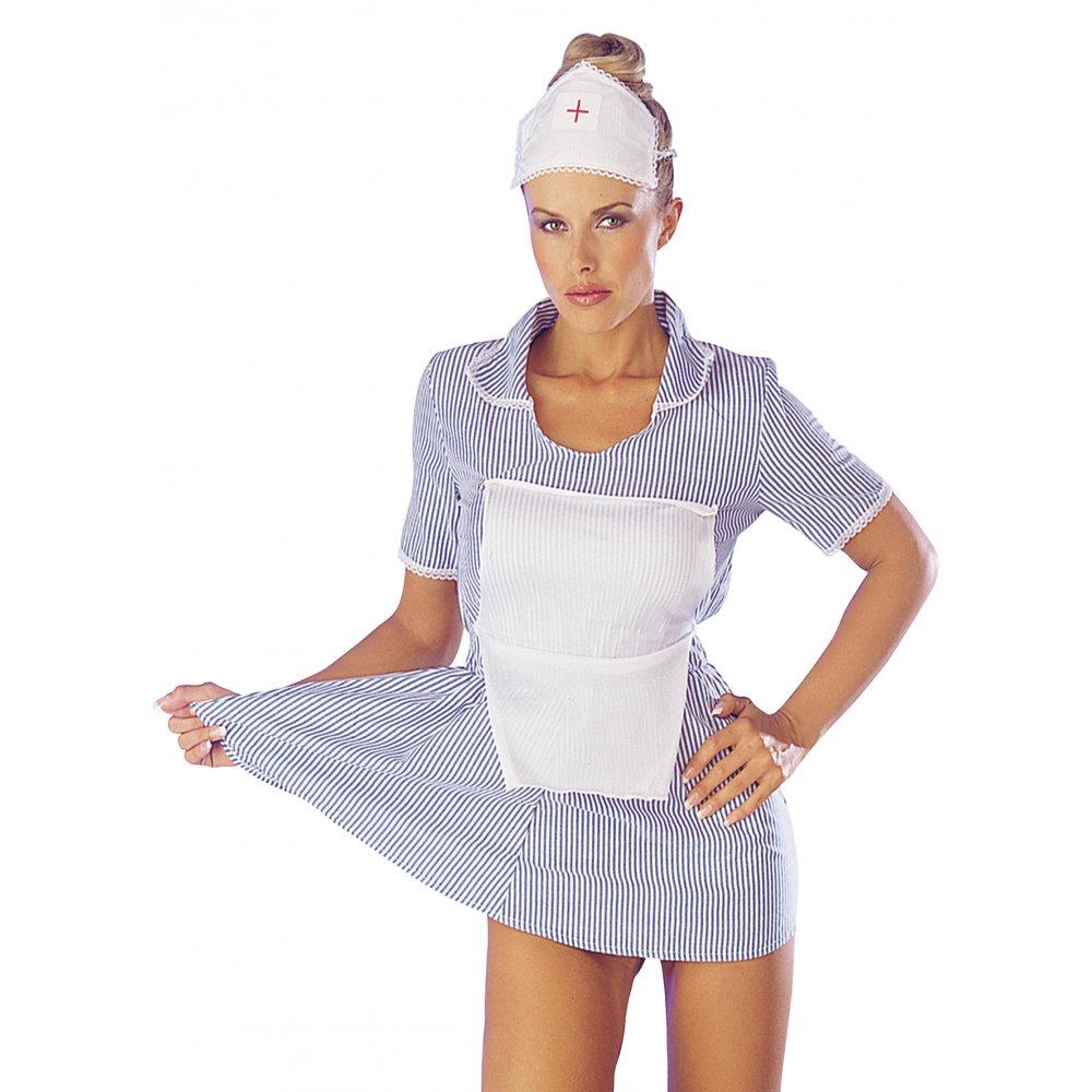 White apron fancy dress - Sexy Seductive White Blue Womens Nurse Fancy Dress Costume