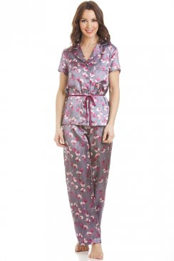 Short Sleeve Belted Satin Purple Floral Print Pyjama Set