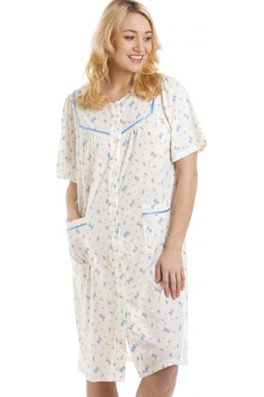 Camille Short Sleeve Button Front Lilac And Blue Floral Print Nightdress
