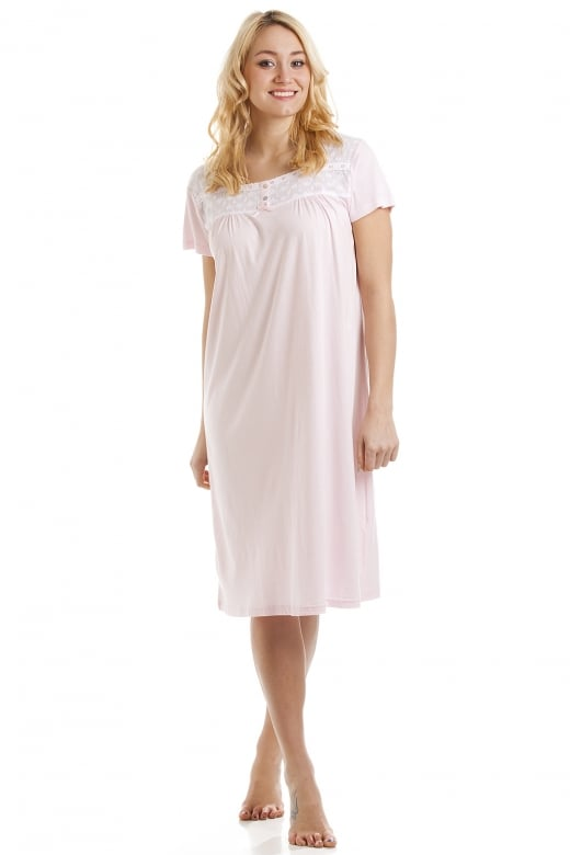Camille Short Sleeve Pink Cotton Modal Nightdress