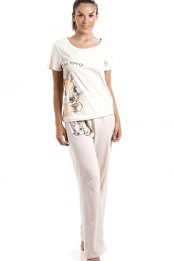 Short Sleeve Squirrel Motif Cream And Champagne Cotton Pyjama Set
