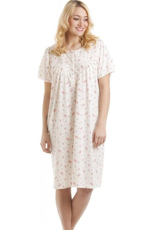 Camille Short Sleeved Pink And Lilac Floral Print Nightdress