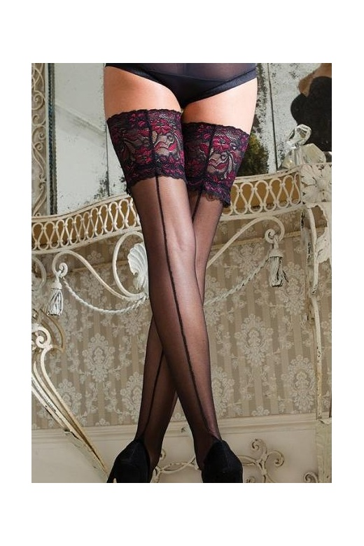 Couture Vixen Range Sheer Lace Top Seamer Hold Ups