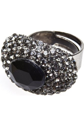 Silver And Black Oval Dome Diamante Ring