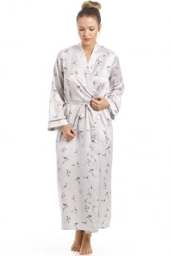 Silver Humming Bird And Butterfly Long Satin Dressing Gown