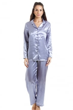 Silver Satin Full Length Pyjama Set