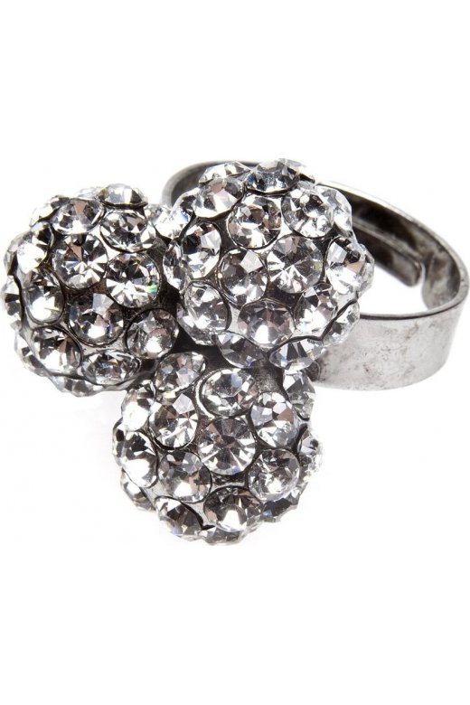 Camille Silver Three Ball Cluster Diamante Ring