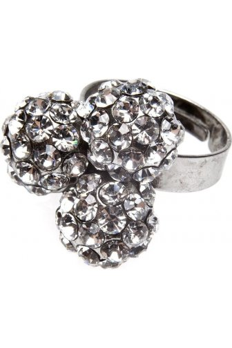 Silver Three Ball Cluster Diamante Ring
