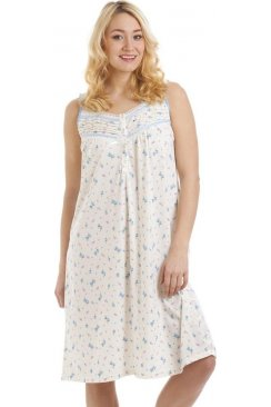 Sleeveless Cotton Mix Lilac And Blue Floral Print Nightdress