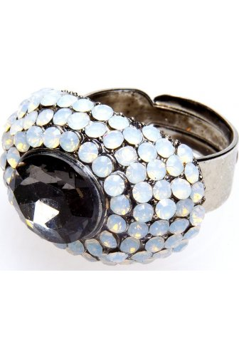 Smoked Grey And White Opaque Diamante Ring