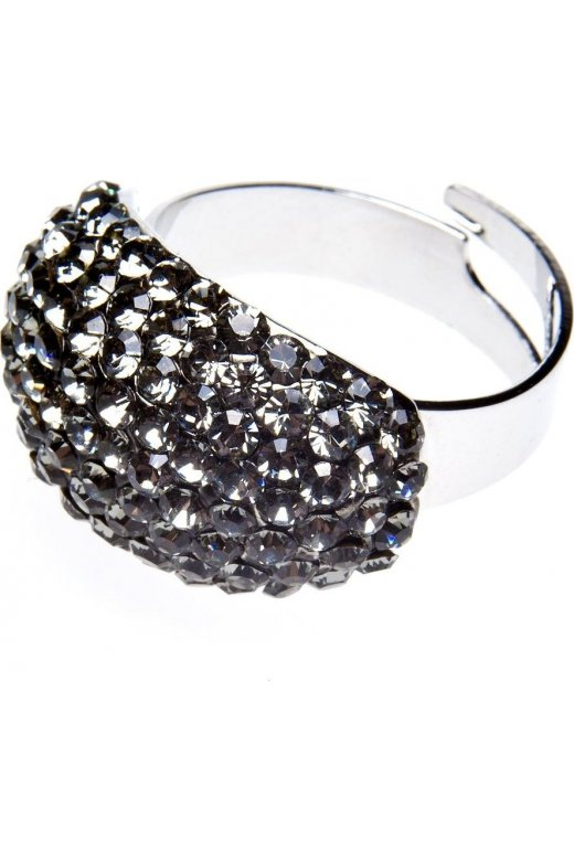 Camille Smoked Grey Oval Dome Diamante Ring