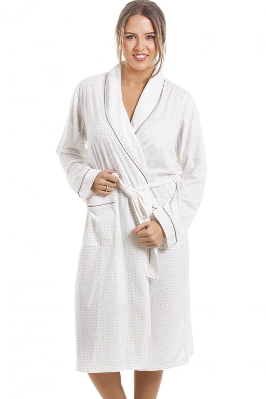 Soft Cosy Knee Length Long Sleeve Mink Polka Dot Dressing Gown