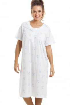 Soft Cosy Knee Length Short Sleeve Blue Floral Nightdress