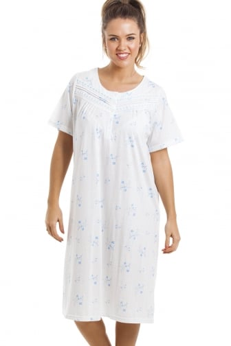 664ea04c5a Soft Cosy Knee Length Short Sleeve Blue Floral Nightdress
