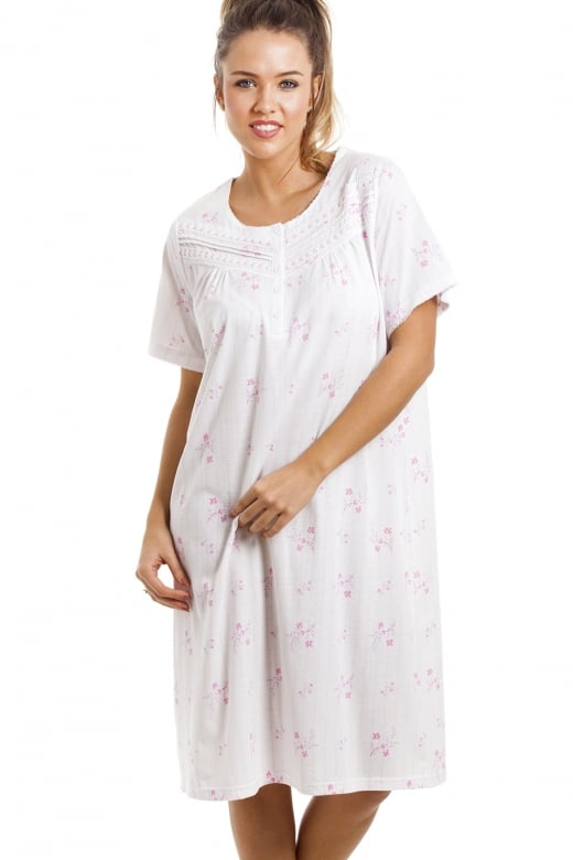 Soft Cosy Knee Length Short Sleeve Pink Floral Nightdress