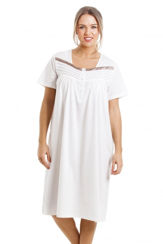 Soft Cosy Knee Length Short Sleeved Mink Polka Dot Nightdress
