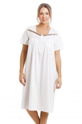 e6e72678c7 Soft Cosy Knee Length Short Sleeved Mink Polka Dot Nightdress