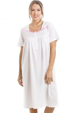 Soft Cosy Knee Length Short Sleeved Pink Polka Dot Nightdress