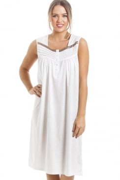 Soft Cosy Knee Length Sleeveless Mink Polka Dot Nightdress