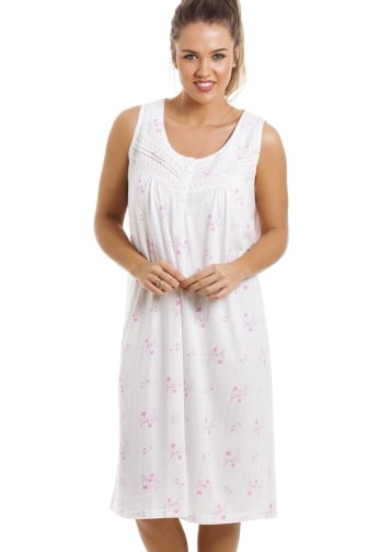Soft Cosy Knee Length Sleeveless Pink Floral Nightdress