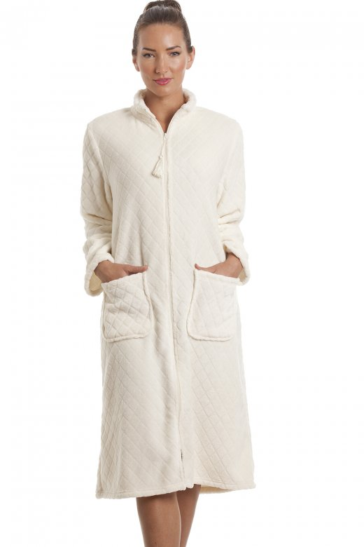 Soft Fleece Ivory Zip Front House Coat