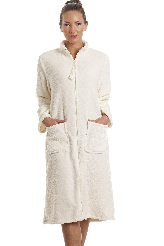 soft fleece ivory zip front house coat. Black Bedroom Furniture Sets. Home Design Ideas