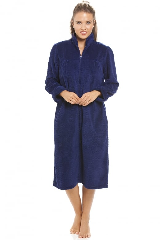 Soft Fleece Navy Blue Zip Front House Coat