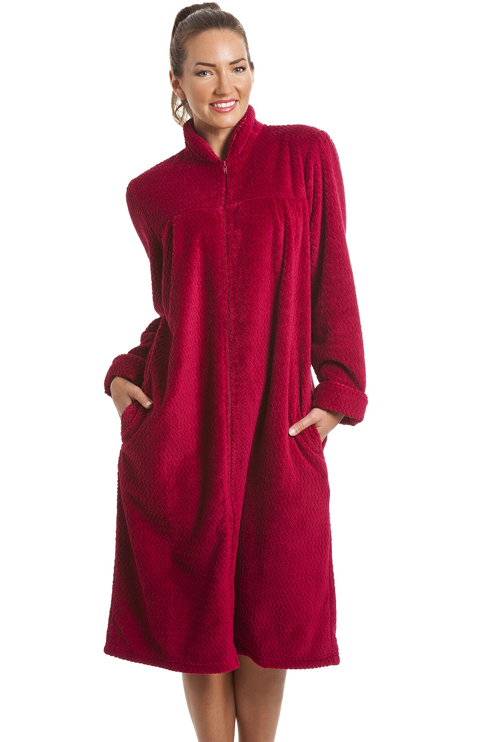 Soft fleece berry zip front house coat - Robe de chambre fermeture eclair femme ...