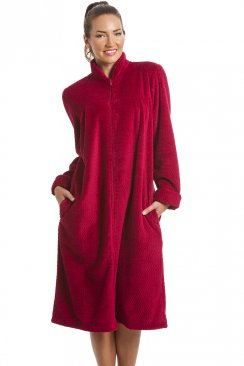 Soft Fleece Ruby Red Zip Front House Coat