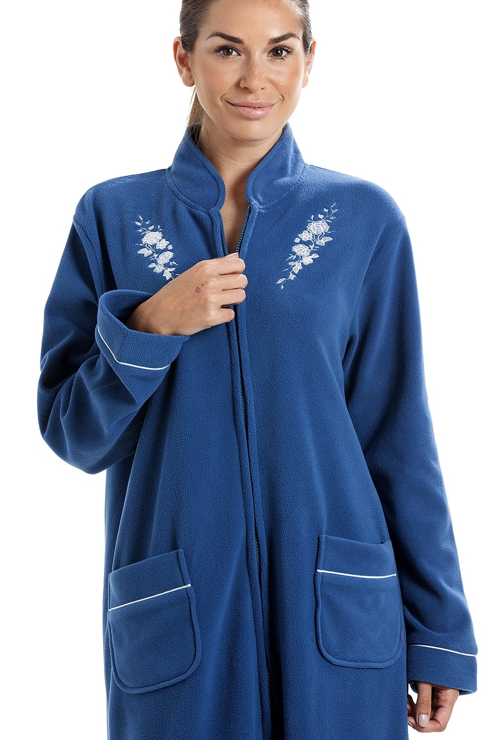 5b0cdd50df Soft Warm Fleece Blue Zip Up Front Housecoat