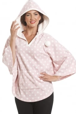 Star Print Pink Hooded Fleece Poncho