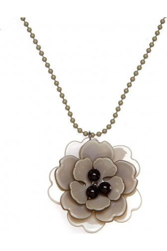 Stone Grey And Black Flower Necklace