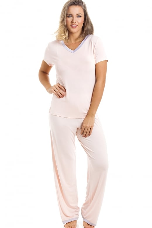 Stylish Full Length Short Sleeve Peach Pyjama Set