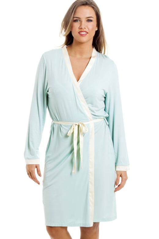 Stylish Knee Length Long Sleeve Mint Green Dressing Gown