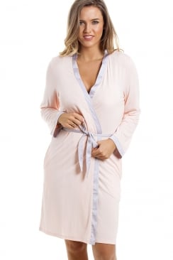Stylish Knee Length Long Sleeve Peach Dressing Gown