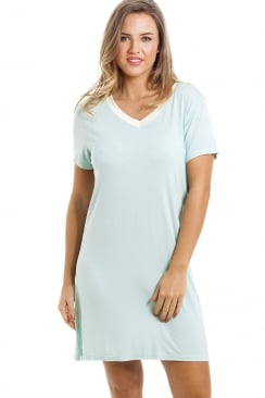 Stylish Knee Length Short Sleeve Mint Green Nightdress