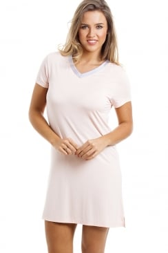 Stylish Knee Length Short Sleeve Peach Nightdress