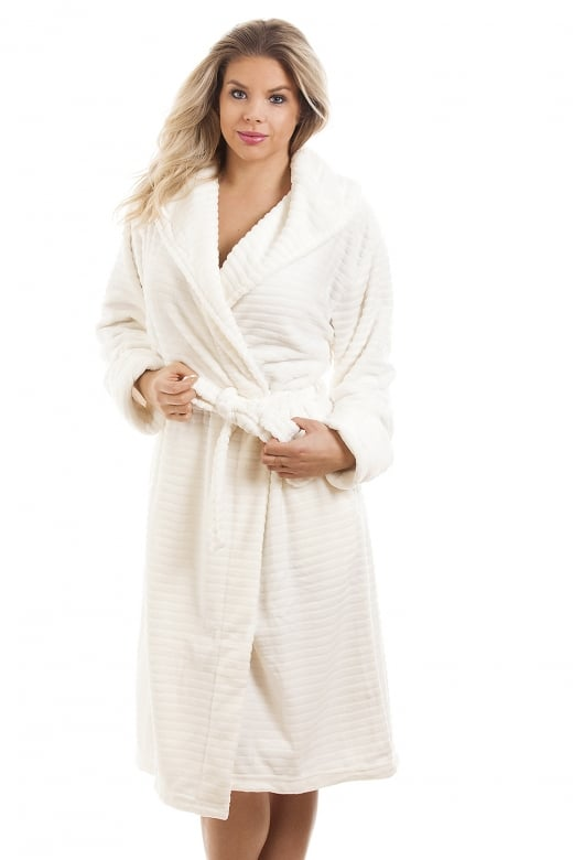 Camille Super Soft Fleece Ivory Dressing gown