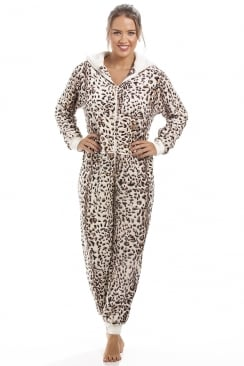 Supersoft Animal Print All In One Cat Leopard Onesie