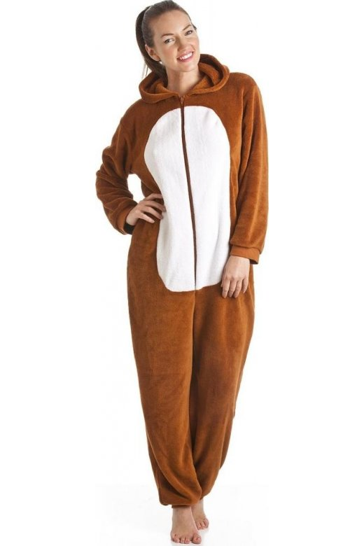 Camille Supersoft Brown And White Fox Hooded Onesie