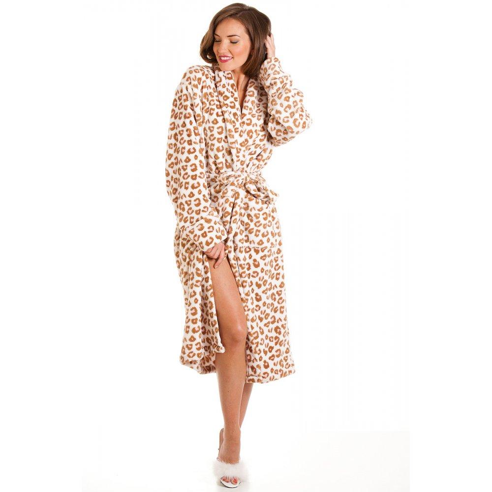 supersoft brown pink womens leopard print robe sizes 8 18. Black Bedroom Furniture Sets. Home Design Ideas