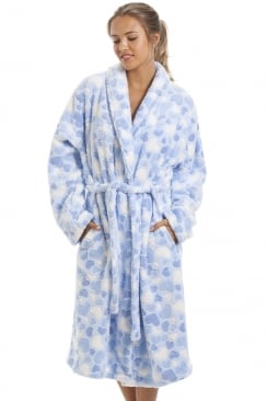 Supersoft Fleece Light Blue Heart Print Bathrobe
