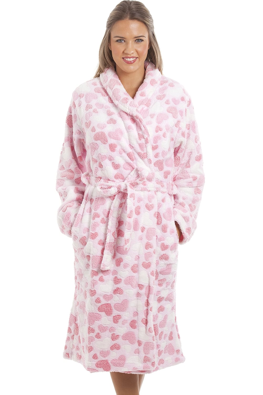 b63dcd855a710 Camille Supersoft Fleece Light Pink Heart Print Bathrobe