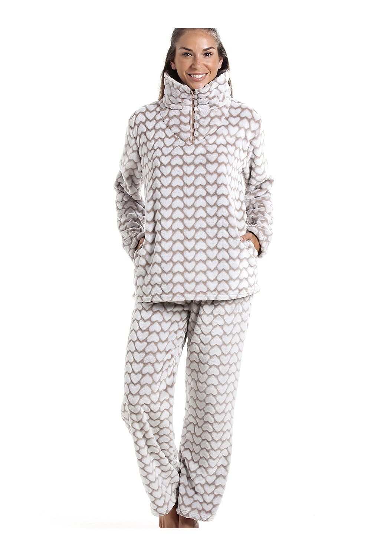 3cb21e0ff2a5da Camille Supersoft Fleece Mink And White Heart Print Pyjama Set
