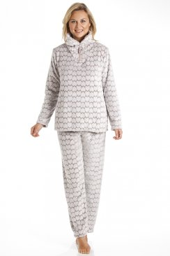 Supersoft Fleece Mink And White Heart Print Pyjama Set