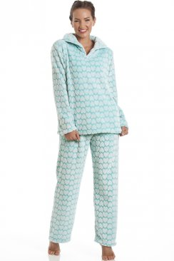 Supersoft Fleece Mint Green And White Heart Print Pyjama Set